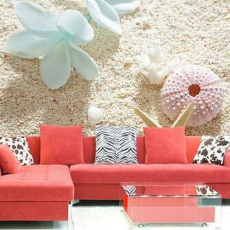dimensional wallpaper seashells mural sofa background wall wallpaper