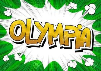 Olympia   Comic Book Style Word On Comic Book Abstract Background