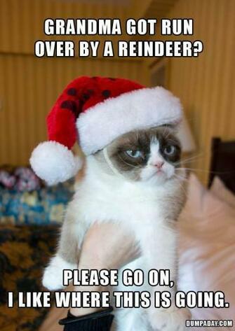 grandma got run over by a reindeer grumpy cat funny grumpy cat