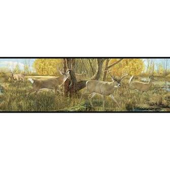 MTA1NzExODc2WESTERN DEER ANTLERS Green Wallpaper Border TA39017B eBay