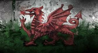 Wales Dragon Symbol Flag Paints Stains Texture   Stock Photos