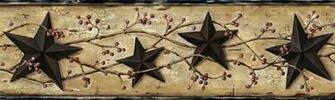 Black Barn Star Wallpaper Border FFR65362B berry garland border