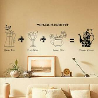 All matching Removable Wallpaper Wall Stickers with Retro Flower Pot