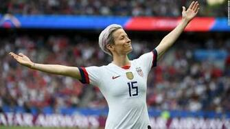 Megan Rapinoe struck an epic pose after scoring against France in