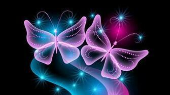 Download Wallpaper 1920x1080 butterflies neon light