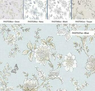 Modern Farmhouse Floral Wallpaper Shabby Chic Kitchen Toile Etsy