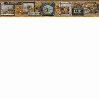 hautman brothers big five hunting cabin wallpaper border htm48562b