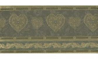 Home Gold Scrolls Molding HEARTS Wallpaper Border