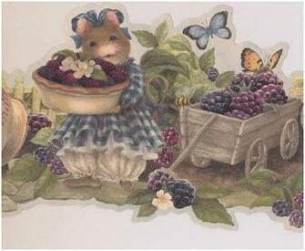 Mouse Offering Berries Farmhouse Wallpaper Border Retro Design