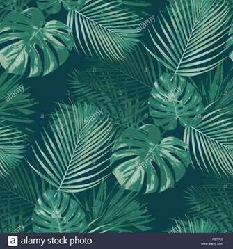 Emerald forest vector seamless pattern tropical background botany