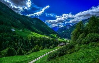 Wallpaper greens forest the sky clouds trees mountains
