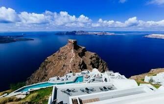 Wallpaper sea the sky stay island Santorini Greece the hotel