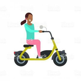 African Girl Riding Electric Scooter Over White Background