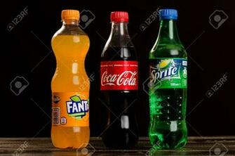 Coca Cola Fanta Sprite On A Dark Background Stock Photo Picture