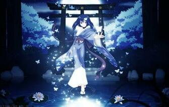 Wallpaper girl trees butterfly night nature the moon anime