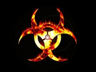biohazard fire biohazard symbol black background 1024x768 wallpaper