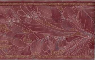 Burgundy Red Palm Leaf Floral Silk Reflective Wall Paper Border