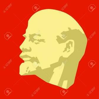 Silhouette Of The Lenin On Red Background Stock Photo Picture And