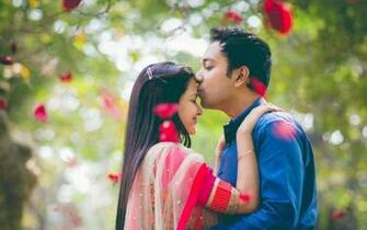 Forehead kiss boy and girl love wallpaper 1920x1200 1267044