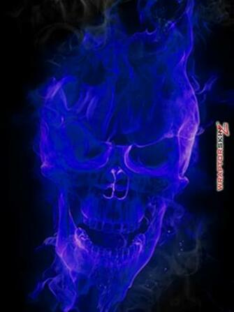 iPad Skin Flaming Fire Skull Blue fits iPad 2 and iPad3