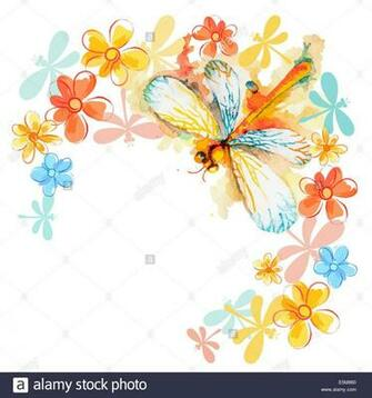 Greeting background with beautiful watercolor flying orange