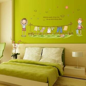 Clothes children cartoon wall sticker green removable PVC wallpaper