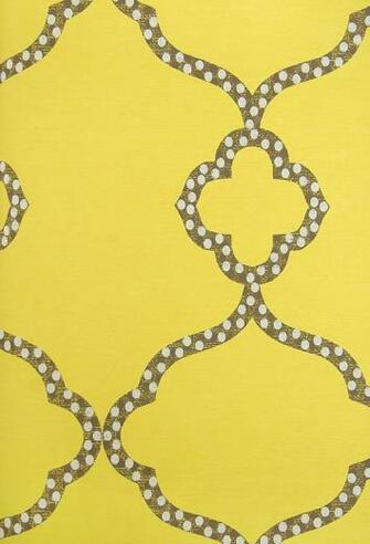 Gibraltar Trellis Wallpaper Bright Yellow Wallpaper with dark brown