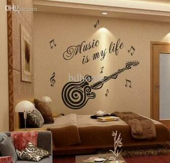 Wholesale Removable Wallpaper Stickers Guitar Decoration Interior
