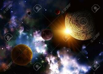 Maya Prophecy Horizontal Background With Space Scene Stock Photo