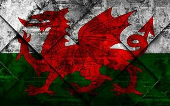 Download wallpapers Flag of Wales grunge art rhombus grunge