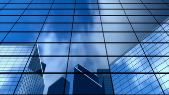 background building office windows glass blue bank
