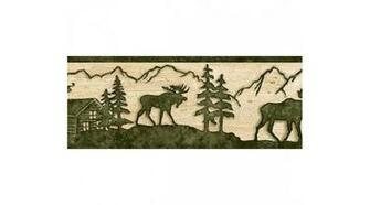 Home Beige and Green Lodge Moose Wallpaper Border