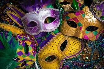 A Group Of Venetian Mardi Gras Mask Or Disguise On A Dark