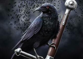 crow clouds sword death dark swords weapon weapons fantasy wallpaper