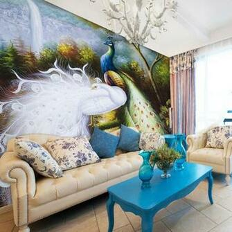 sofa bakground wall mural fashion wallpaper peacock double wallpaper