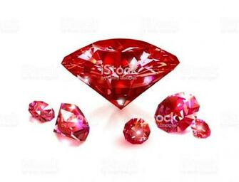 Red Rubies On A White Background Gemstones Vector Illustration