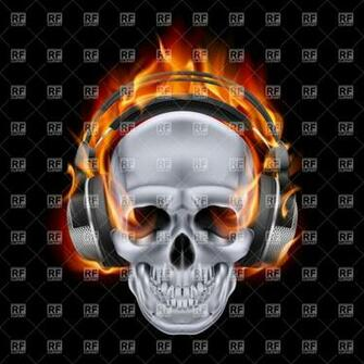 Flaming skull in headphones on black background 27640 Backgrounds