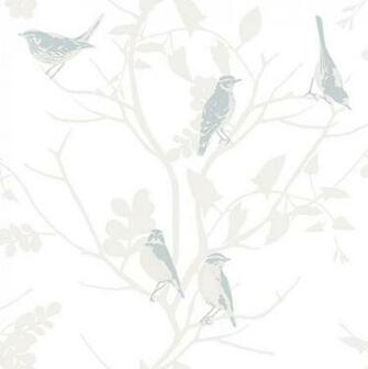 RASCH SONGBIRD BIRDS TREES BRANCHES MOTIF METALLIC WALLPAPER ROLL