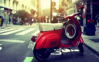 vespa scooter red street photo