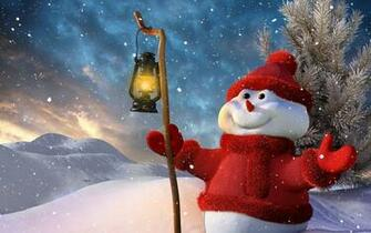 Download Wallpaper 1920x1200 New year Christmas Snowman Lamp Tree