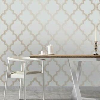 Moroccan Trellis Global Bazaar Grey Beige Removable Wallpaper Kathy
