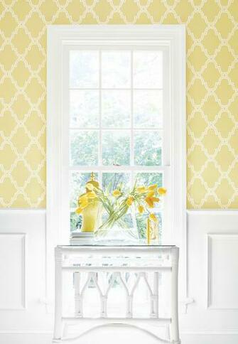 Stanbury Trellis wallpaper in Yellow thibaut Graphic Resource