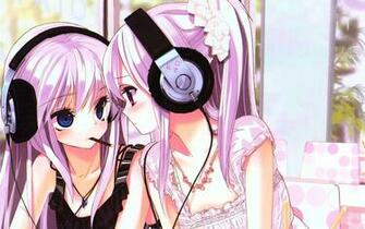 Wallpaper kawaii cute earphones nyashka anime HD Desktop