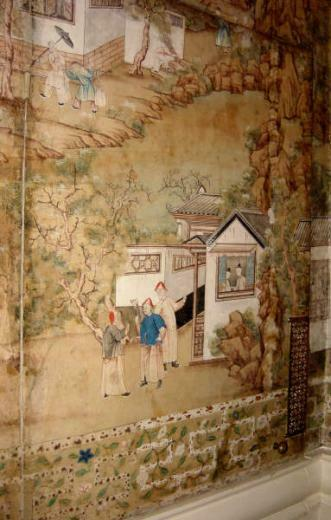 of the Chinese wallpaper with its imitation bamboo trellis border