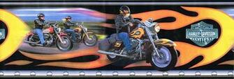 Harley Davidson Motorcycles Bikers Orange Flames Wallpaper Border