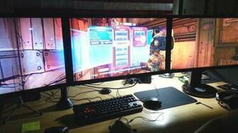 asus triple monitor setup hd wallpaper for your desktop background or