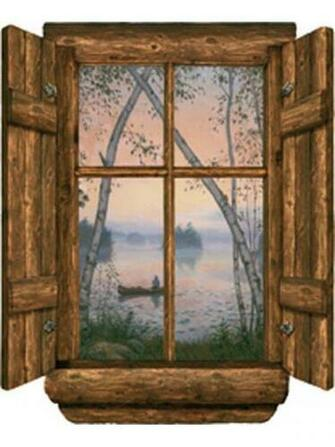 Log Cabin Window Fishermans Dream Wall Mural
