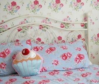 My feature wall with Cath Kidston antique Rose wallpaper