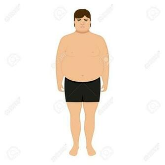 Vector Illustration Cartoon Fat Man Isolated White Background