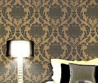 Grey Beige Damask Embossed Textured Flocking Background Wallpaper
